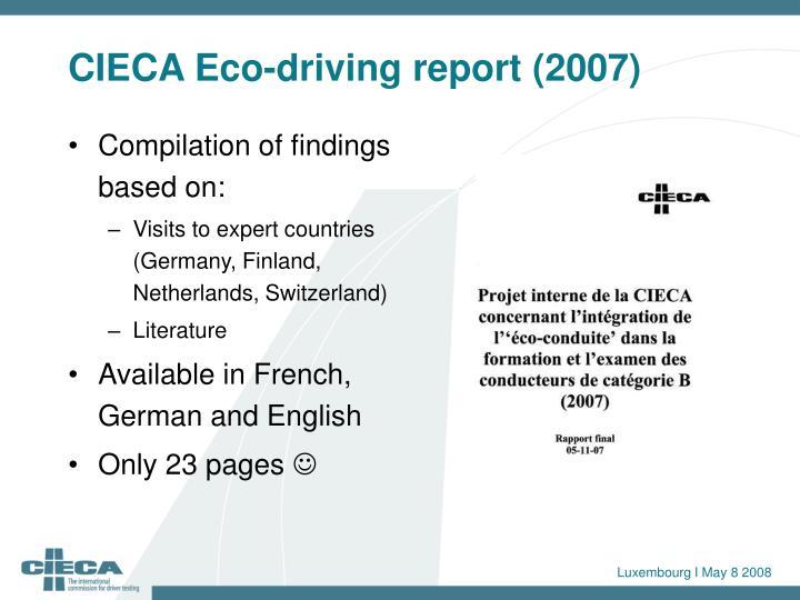 Cieca eco driving report 2007