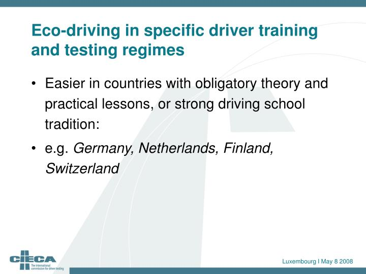 Eco-driving in specific driver training and testing regimes