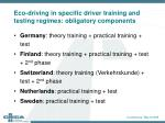 eco driving in specific driver training and testing regimes obligatory components