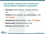 eco driving in specific driver training and testing regimes obligatory components1