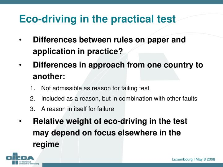Eco-driving in the practical test