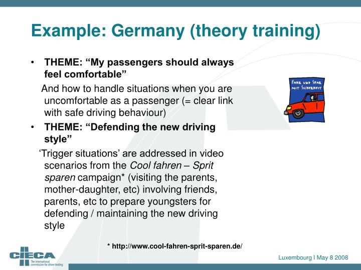 Example: Germany (theory training)