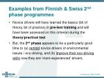 examples from finnish swiss 2 nd phase programmes