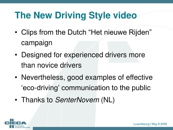 The New Driving Style video