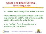 cause and effect criteria time sequence