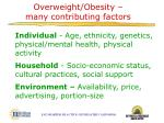 overweight obesity many contributing factors