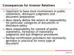 consequences for investor relations