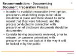 recommendations documenting document preparation process