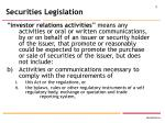 securities legislation