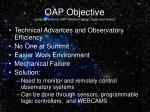 oap objective adapted from the oap detailed design audio and video