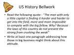 us history bellwork