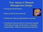 four values in reward management design