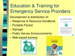 education training for emergency service providers