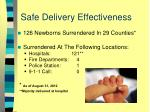 safe delivery effectiveness