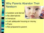 why parents abandon their newborn
