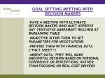 goal setting meeting with decision makers