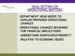 goal setting on operational matters