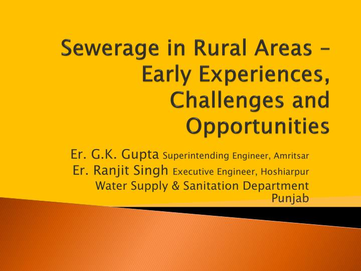 Sewerage in rural areas early experiences challenges and opportunities