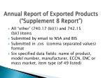 annual report of exported products supplement 8 report
