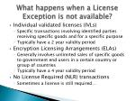 what happens when a license exception is not available