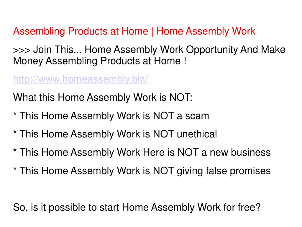 Assembling Products at Home | Home Assembly Work