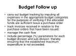 budget follow up