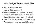 main budget reports and files