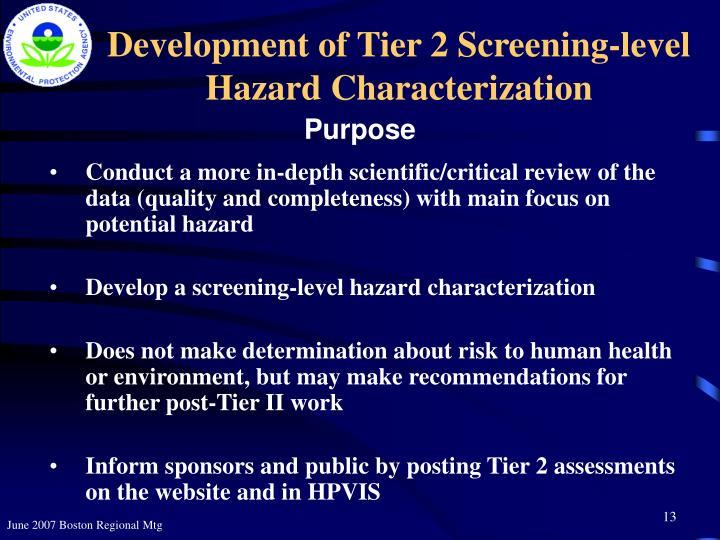 Development of Tier 2 Screening-level  Hazard Characterization