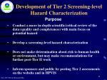 development of tier 2 screening level hazard characterization