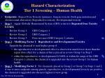 hazard characterization tier 1 screening human health