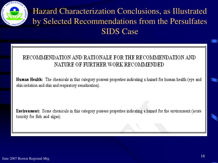 Hazard Characterization Conclusions, as Illustrated by Selected Recommendations from the Persulfates SIDS Case