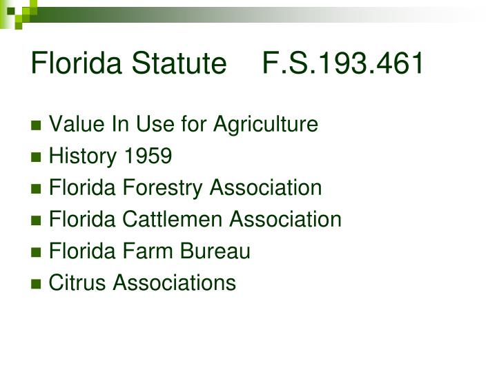 Florida statute f s 193 461