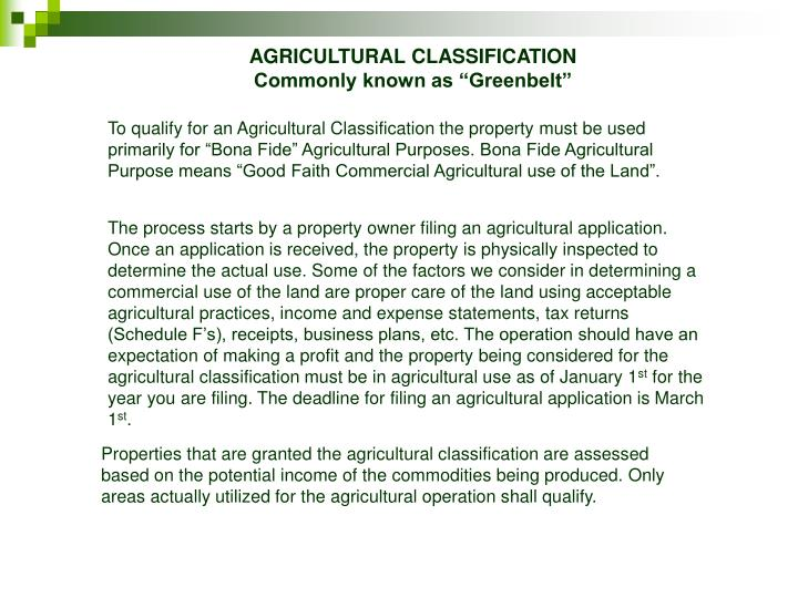 AGRICULTURAL CLASSIFICATION