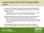 lease income from pass through entities cont