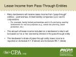 lease income from pass through entities