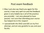 post exam feedback