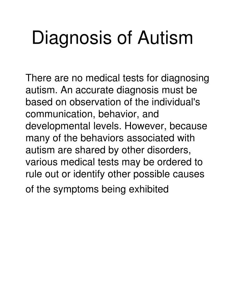Diagnosis of Autism