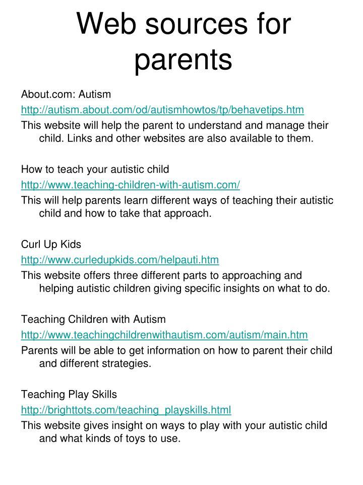 Web sources for parents