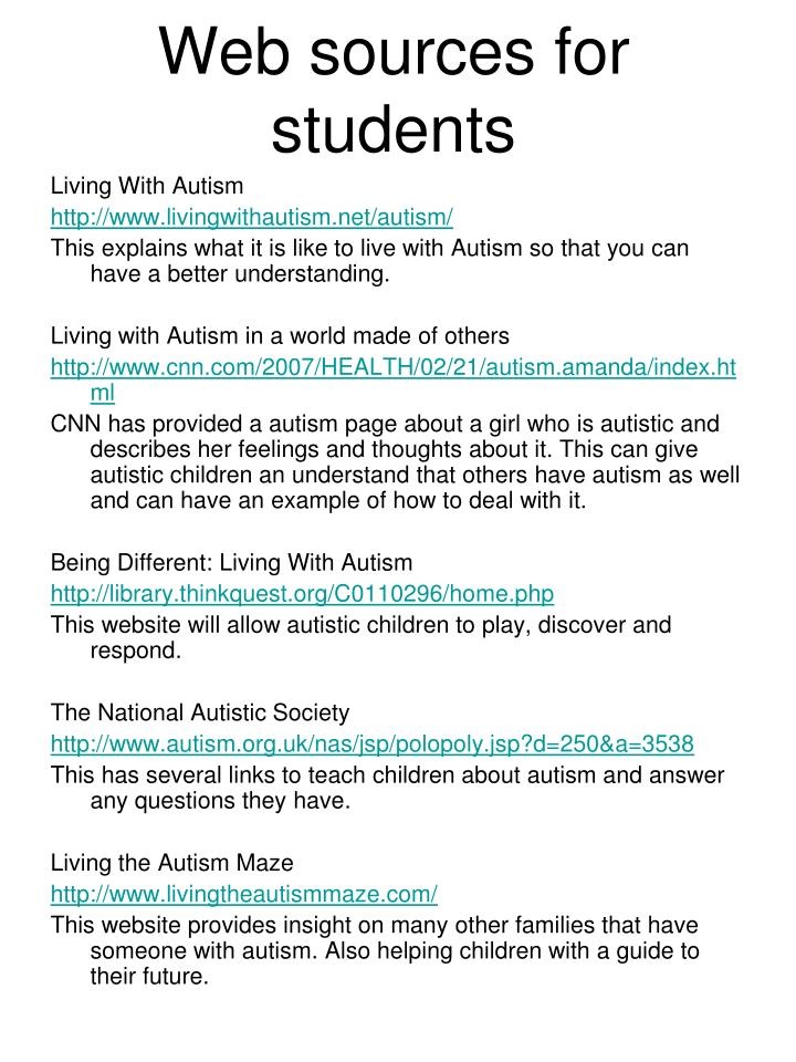 Web sources for students