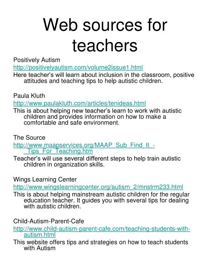 Web sources for teachers