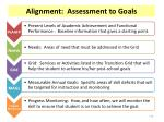 alignment assessment to goals