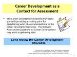 career development as a context for assessment