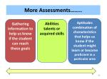 more assessments