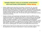 sample present levels of academic achievement and functional performance phillip writing