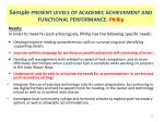 sample present levels of academic achievement and functional performance phillip4