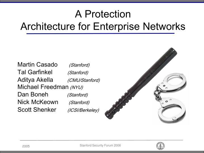 a protection architecture for enterprise networks n.