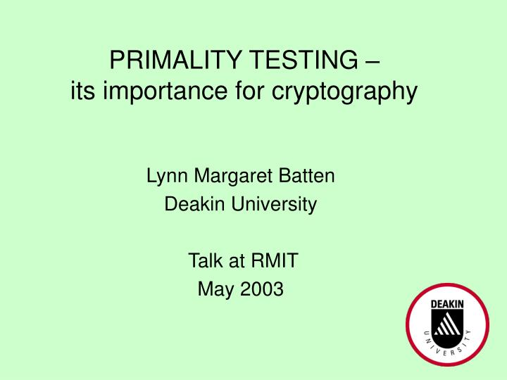 primality testing its importance for cryptography n.