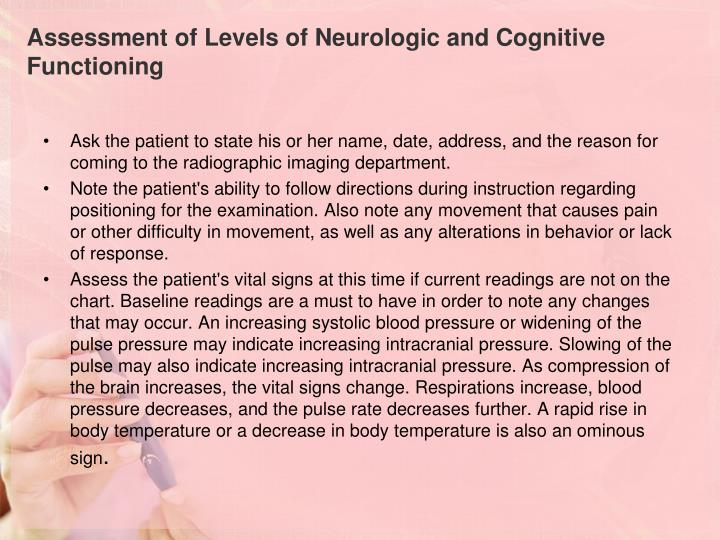 Assessment of Levels of Neurologic and Cognitive Functioning