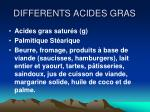 differents acides gras