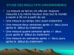 etude des resultats circonference
